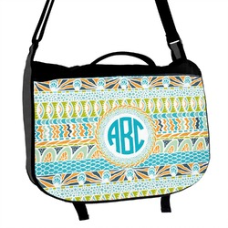 Abstract Teal Stripes Messenger Bag (Personalized)