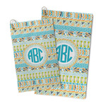 Abstract Teal Stripes Microfiber Golf Towel (Personalized)