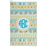 Abstract Teal Stripes Microfiber Golf Towel - Large (Personalized)