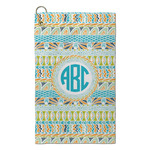 Abstract Teal Stripes Microfiber Golf Towel - Small (Personalized)