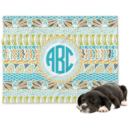 Abstract Teal Stripes Minky Dog Blanket (Personalized)
