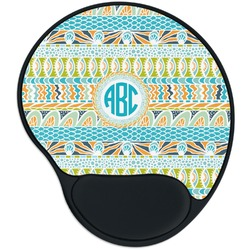 Abstract Teal Stripes Mouse Pad with Wrist Support