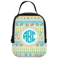 Abstract Teal Stripes Neoprene Lunch Tote (Personalized)