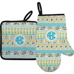 Abstract Teal Stripes Oven Mitt & Pot Holder (Personalized)