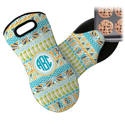 Abstract Teal Stripes Neoprene Oven Mitt (Personalized)