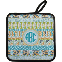 Abstract Teal Stripes Pot Holder (Personalized)