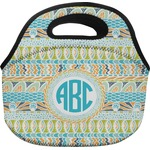 Abstract Teal Stripes Lunch Bag (Personalized)