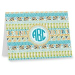 Abstract Teal Stripes Note cards (Personalized)