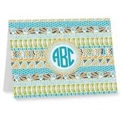 Abstract Teal Stripes Notecards (Personalized)