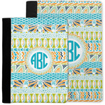 Abstract Teal Stripes Notebook Padfolio w/ Monogram