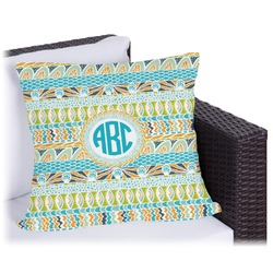 """Abstract Teal Stripes Outdoor Pillow - 18"""" (Personalized)"""