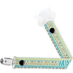 Abstract Teal Stripes Pacifier Clips (Personalized)