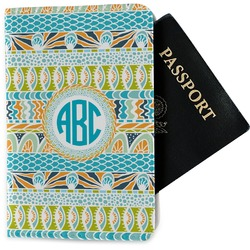Abstract Teal Stripes Passport Holder - Fabric (Personalized)