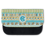 Abstract Teal Stripes Canvas Pencil Case w/ Monogram
