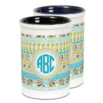 Abstract Teal Stripes Ceramic Pencil Holder - Large