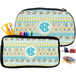 Abstract Teal Stripes Pencil / School Supplies Bag (Personalized)