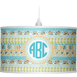 Abstract Teal Stripes Drum Pendant Lamp (Personalized)