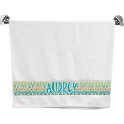 Abstract Teal Stripes Bath Towel (Personalized)