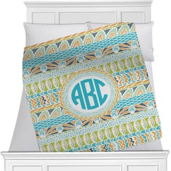 Abstract Teal Stripes Blanket (Personalized)