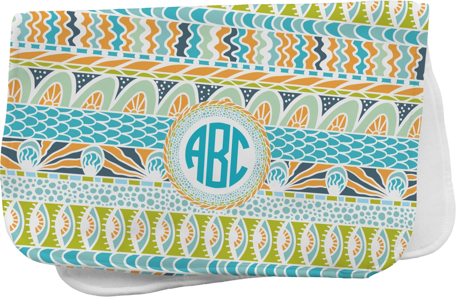 Abstract Teal Stripes Burp Cloth Personalized