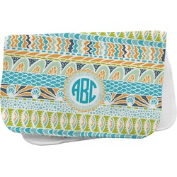 Abstract Teal Stripes Burp Cloth (Personalized)