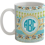 Abstract Teal Stripes Coffee Mug (Personalized)