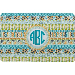 Abstract Teal Stripes Comfort Mat (Personalized)