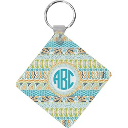 Abstract Teal Stripes Diamond Key Chain (Personalized)