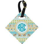 Abstract Teal Stripes Diamond Luggage Tag (Personalized)