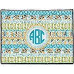 Abstract Teal Stripes Door Mat (Personalized)
