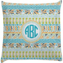 Abstract Teal Stripes Euro Sham Pillow Case (Personalized)