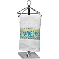 Abstract Teal Stripes Cotton Finger Tip Towel (Personalized)