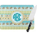 Abstract Teal Stripes Rectangular Glass Cutting Board (Personalized)