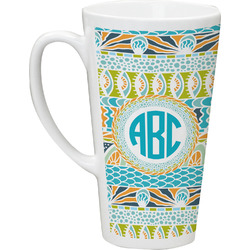 Abstract Teal Stripes Latte Mug (Personalized)
