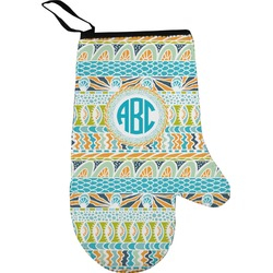 Abstract Teal Stripes Right Oven Mitt (Personalized)