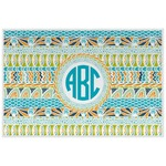 Abstract Teal Stripes Laminated Placemat w/ Monogram