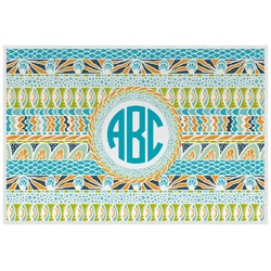 Abstract Teal Stripes Placemat (Laminated) (Personalized)