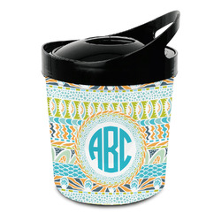 Abstract Teal Stripes Plastic Ice Bucket (Personalized)