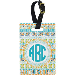 Abstract Teal Stripes Rectangular Luggage Tag (Personalized)