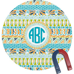 Abstract Teal Stripes Round Magnet (Personalized)