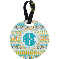 Abstract Teal Stripes Round Luggage Tag (Personalized)