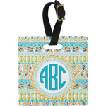 Abstract Teal Stripes Square Luggage Tag (Personalized)