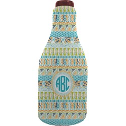 Abstract Teal Stripes Wine Sleeve (Personalized)