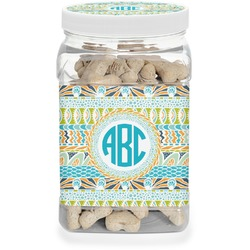 Abstract Teal Stripes Dog Treat Jar (Personalized)