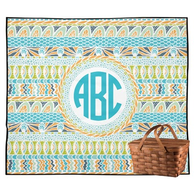 Abstract Teal Stripes Outdoor Picnic Blanket (Personalized)
