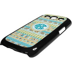 Abstract Teal Stripes Plastic Samsung Galaxy 3 Phone Case (Personalized)