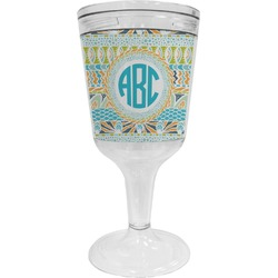 Abstract Teal Stripes Wine Tumbler - 11 oz Plastic (Personalized)