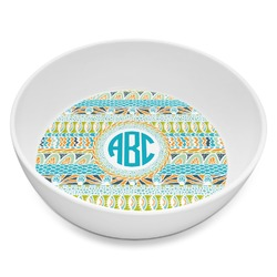 Abstract Teal Stripes Melamine Bowl 8oz (Personalized)