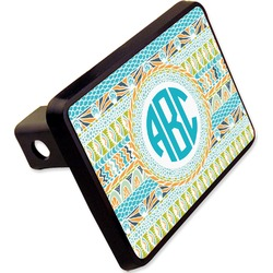 "Abstract Teal Stripes Rectangular Trailer Hitch Cover - 2"" (Personalized)"
