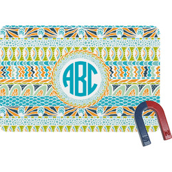 Abstract Teal Stripes Rectangular Fridge Magnet (Personalized)